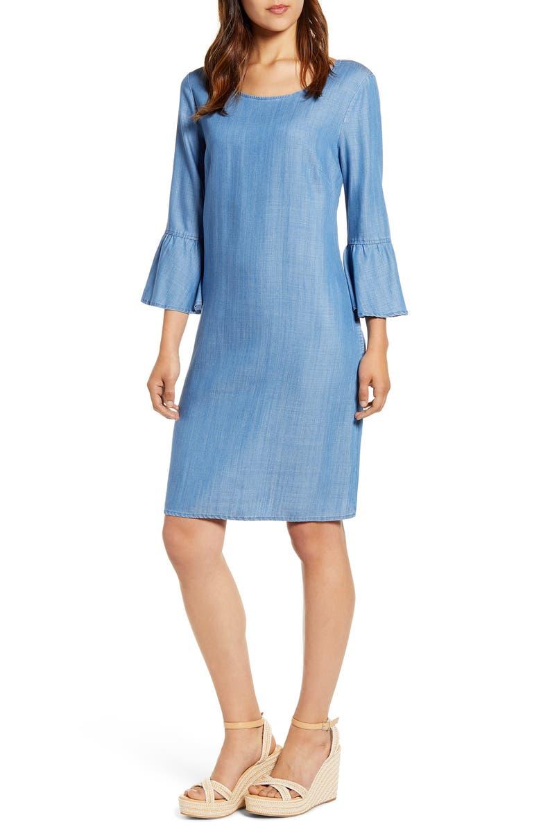 TOMMY BAHAMA All Day Chambray Dress, Main, color, MED MARINA WASH