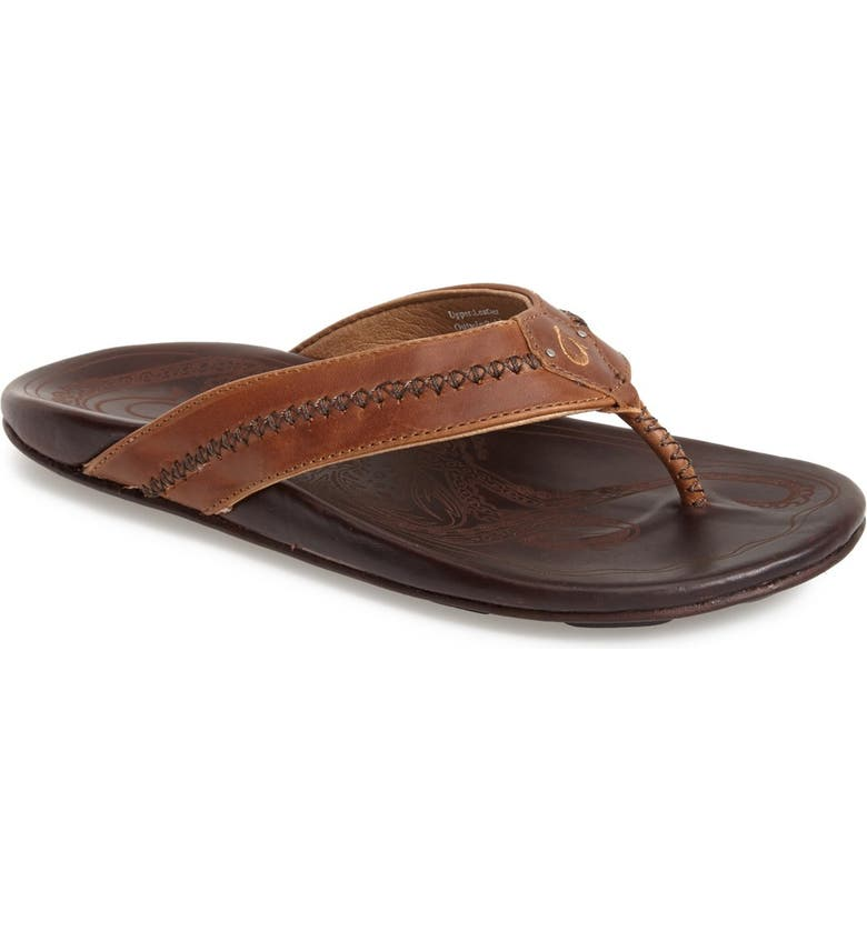OLUKAI Mea Ola Flip Flop, Main, color, TAN/ DARK JAVA