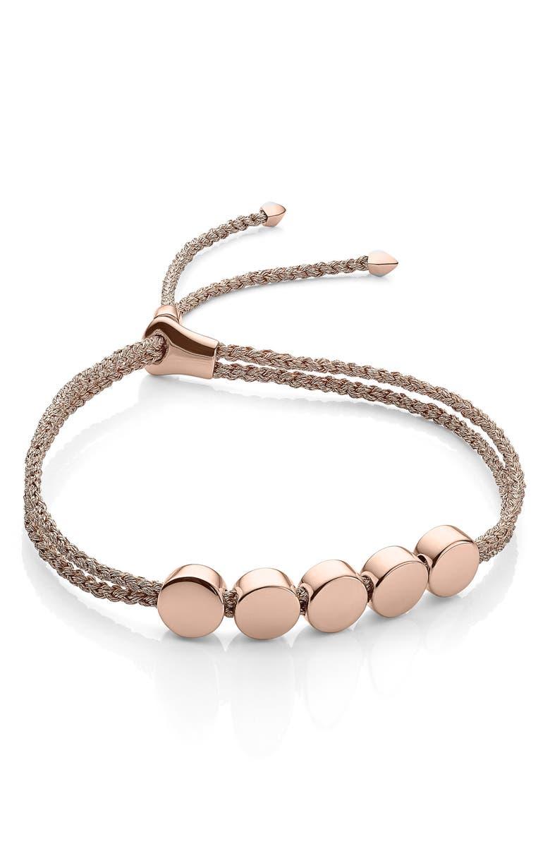 MONICA VINADER Engravable Linear Bead Friendship Bracelet, Main, color, ROSE GOLD METALLIC