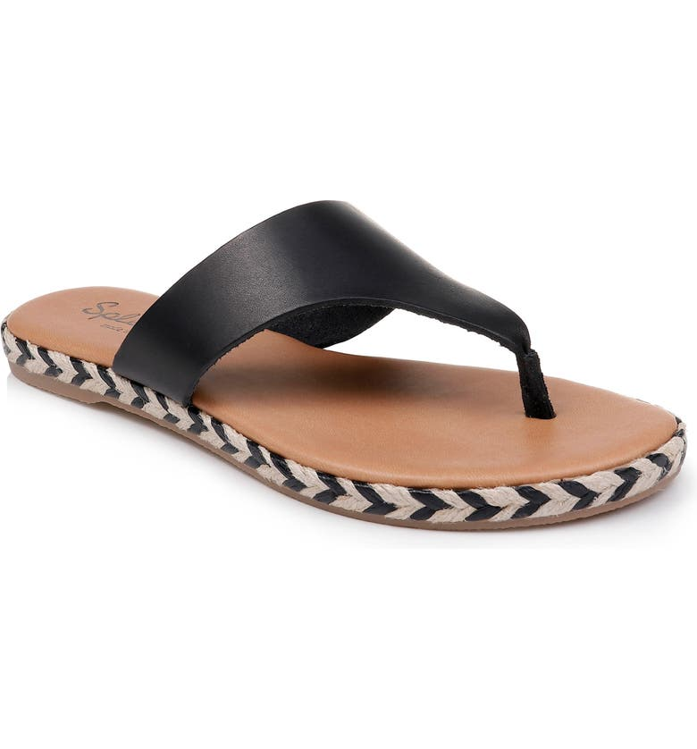 SPLENDID Trevon Espadrille Flip Flop, Main, color, BLACK LEATHER