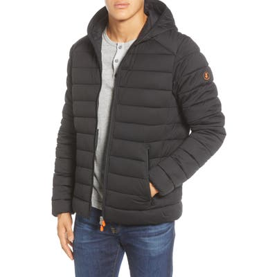 Save The Duck Water Resistant Hooded Puffer Jacket, Black