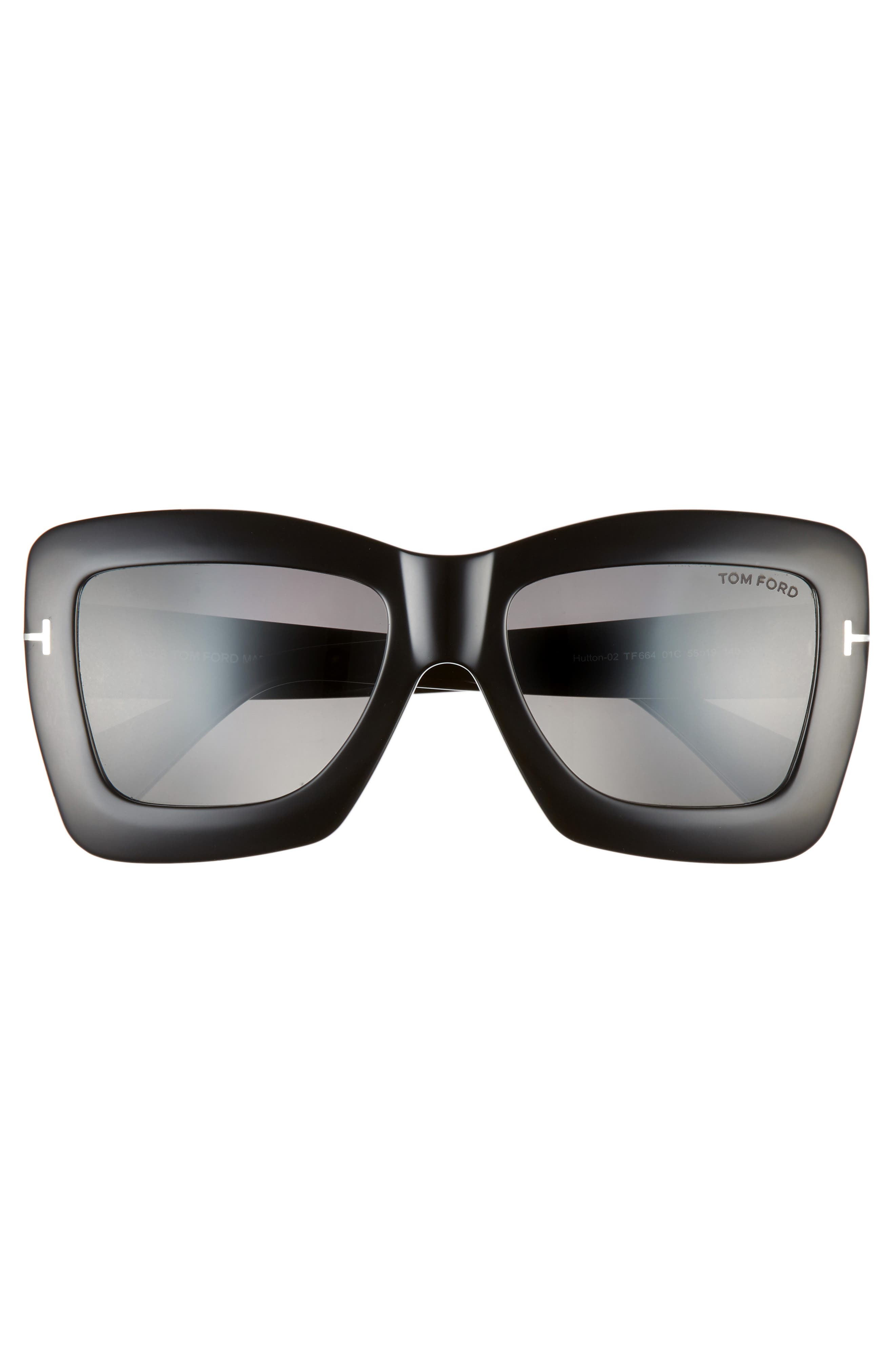 ,                             Hutton 55mm Rectangular Sunglasses,                             Alternate thumbnail 3, color,                             BLACK/ SMOKE MIRROR
