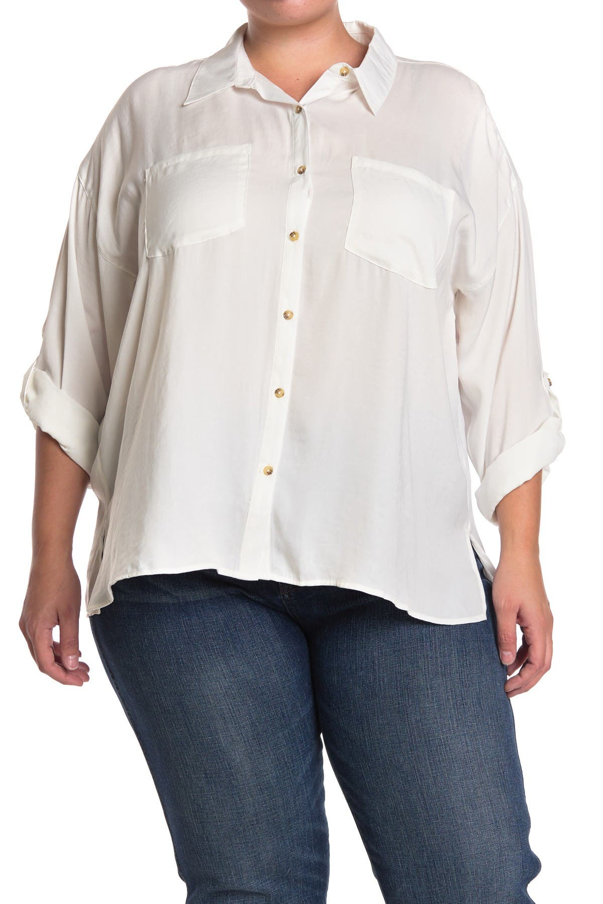 Image of Democracy Roll Sleeve Button Front Tunic Shirt