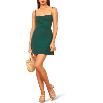 Reformation Abel Ribbed Minidress, Green