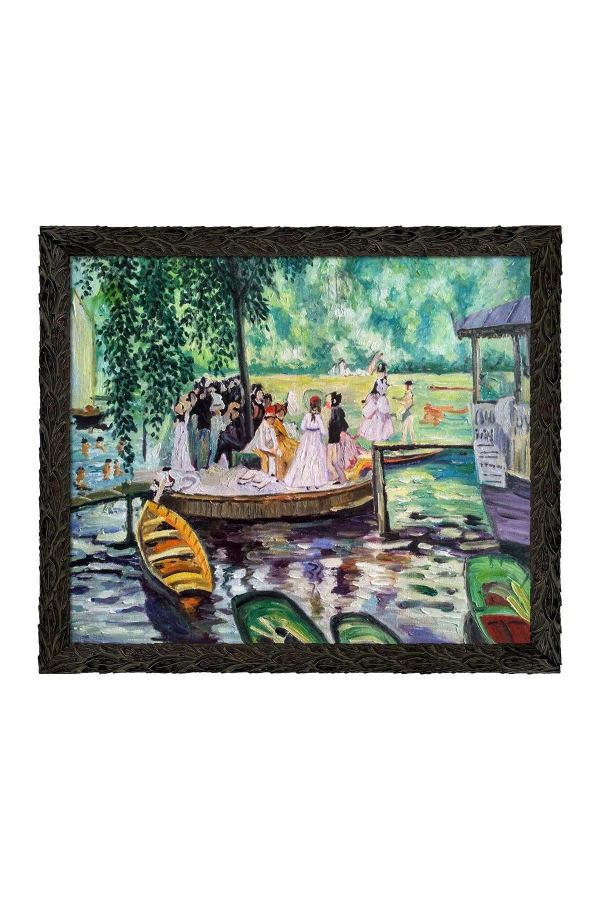 "Image of Overstock Art La Grenouillere (The Frog Pond) with Feathered Ebony Frame - 23.24"" x 27.24"""
