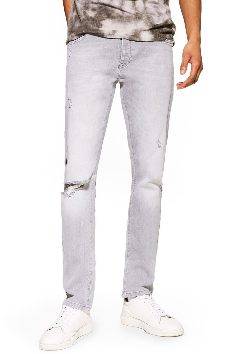 TOPMAN Ripped Slim Fit Jeans, Main, color, GREY