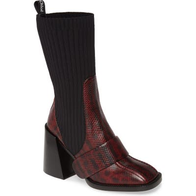Chloe Bea Snake Embossed Half Sock Boot - Red