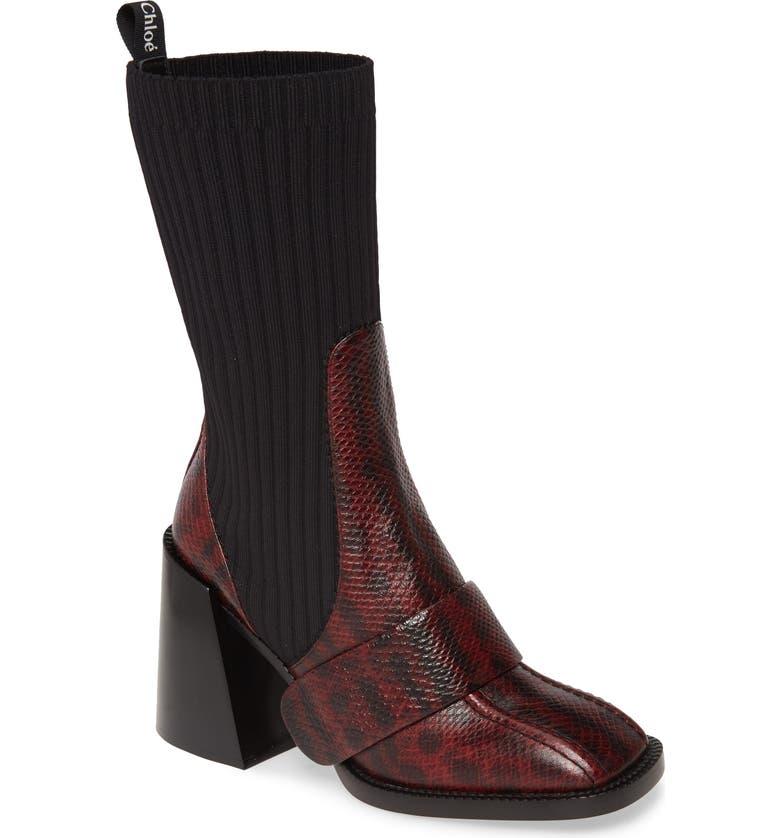 CHLOÉ Bea Snake Embossed Half Sock Boot, Main, color, DAHLIA RED