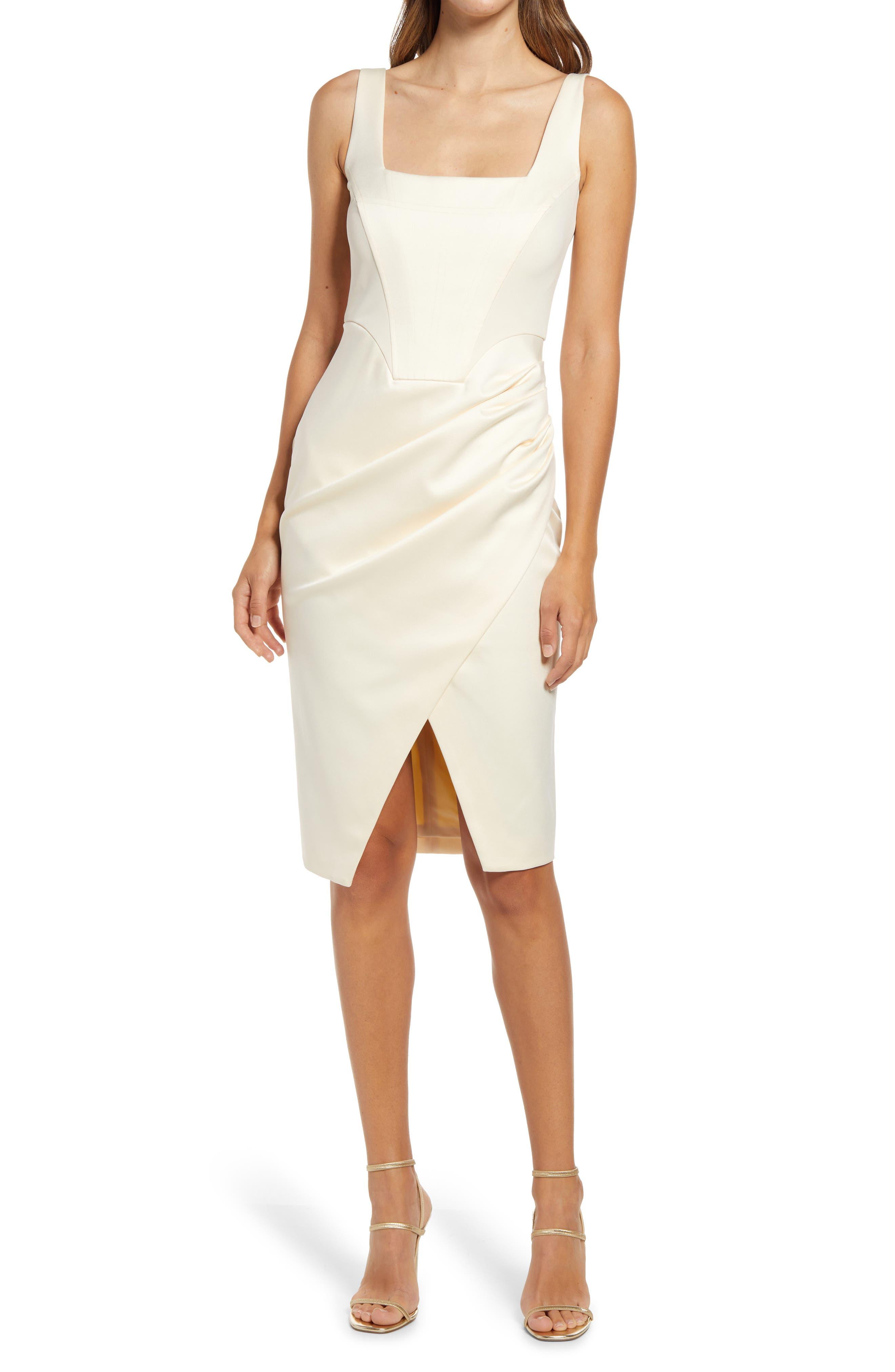 Bonded Satin Midi Dress
