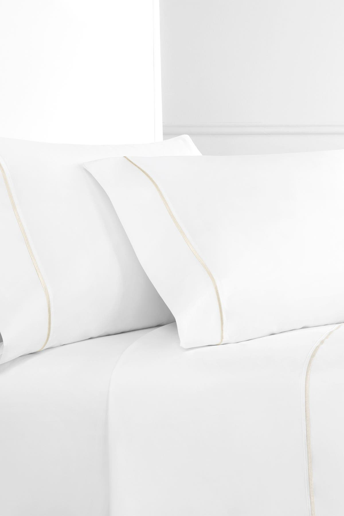 Image of Melange Home Single Marrow King Stripe 300 Thread Count 4-Piece Sheet Set - White