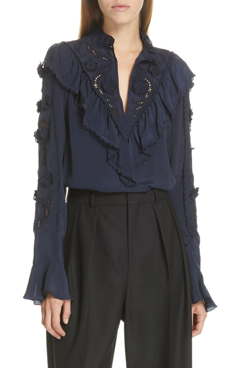 SEE BY CHLOÉ Ruffle Lace Blouse, Main, color, 401