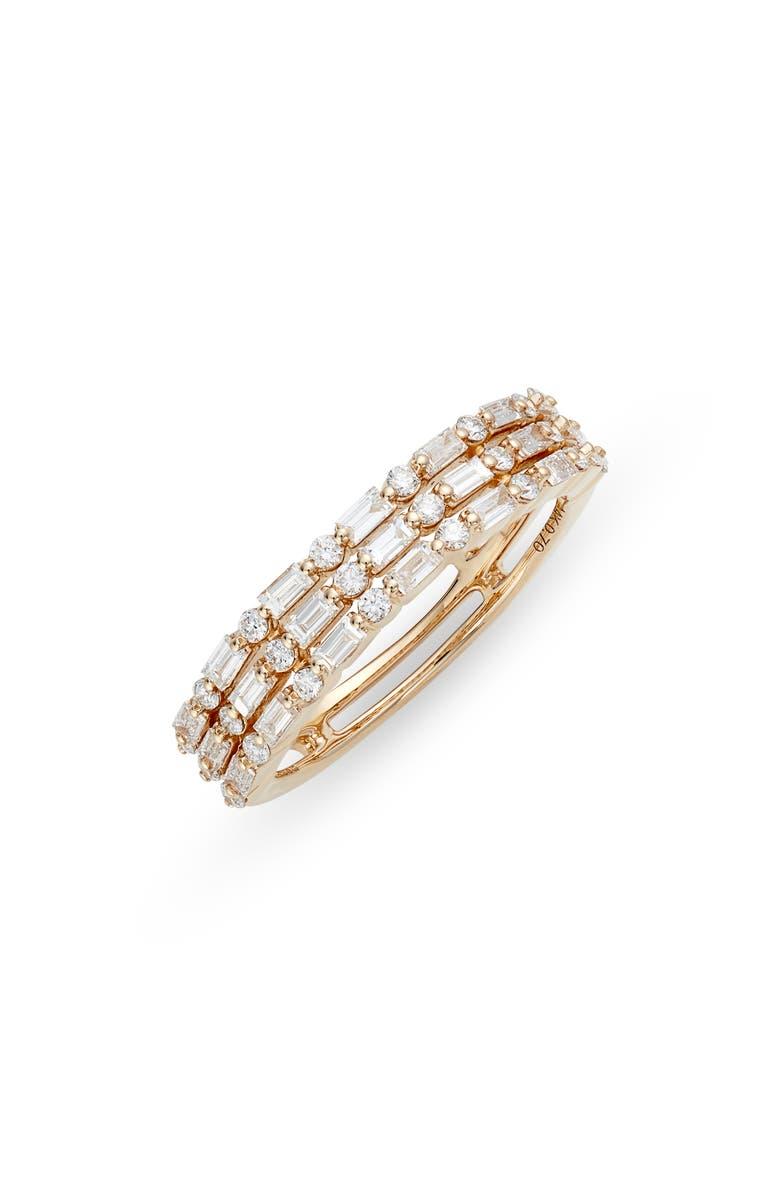 DANA REBECCA DESIGNS Sadie Diamond Baguette Stack Ring, Main, color, 710