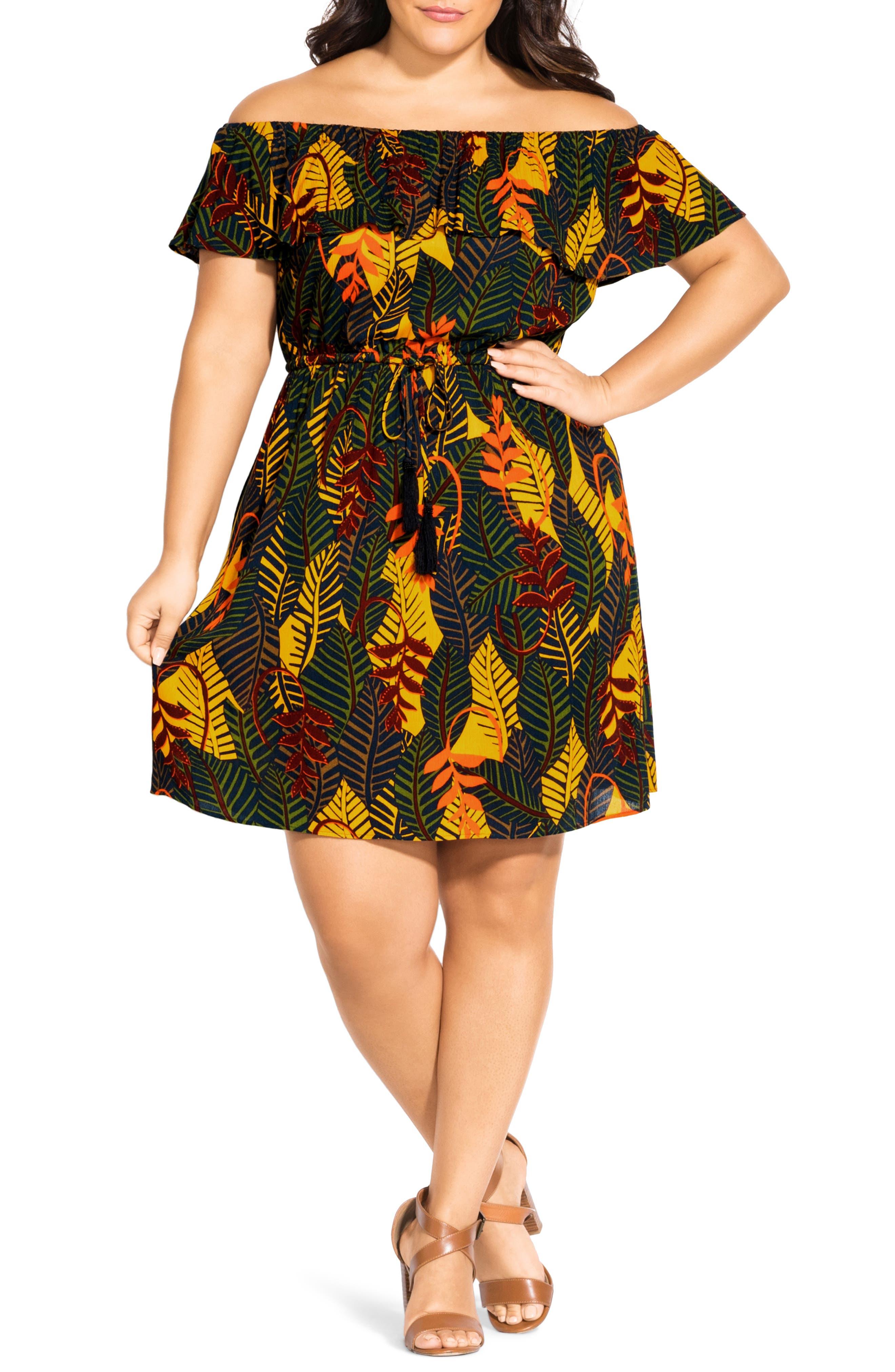 Plus Size City Chic Florida Keys Off The Shoulder Dress, Green
