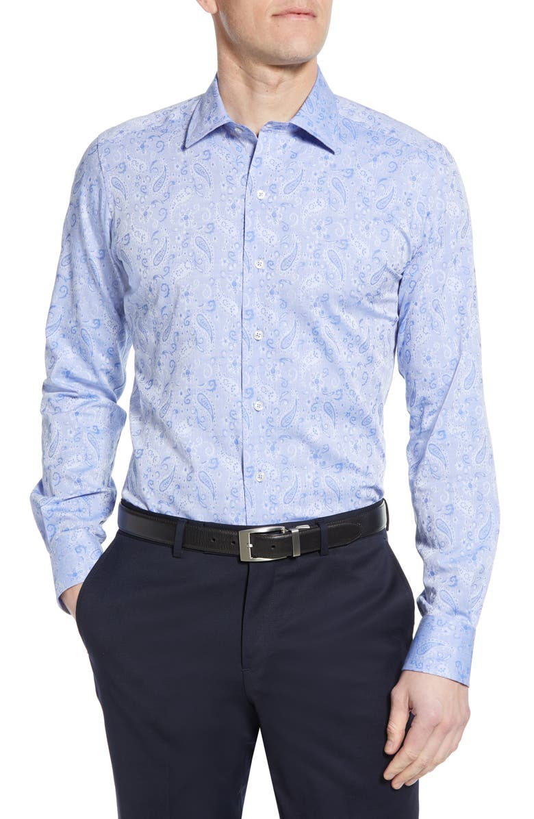 DAVID DONAHUE Trim Fit Floral Dress Shirt, Main, color, 400
