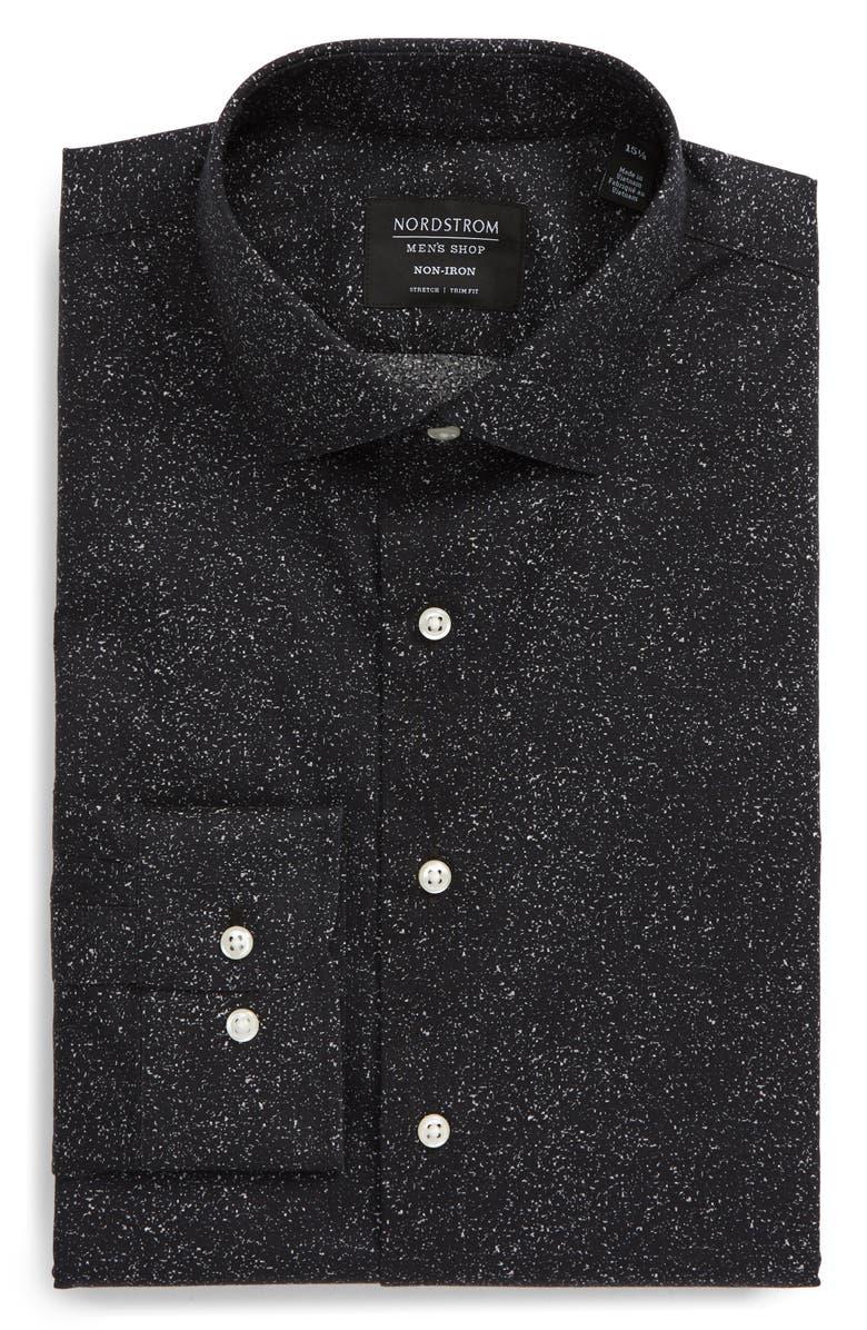 NORDSTROM MEN'S SHOP Trim Fit Non-Iron Dress Shirt, Main, color, BLACK GREY GLITCH STATIC