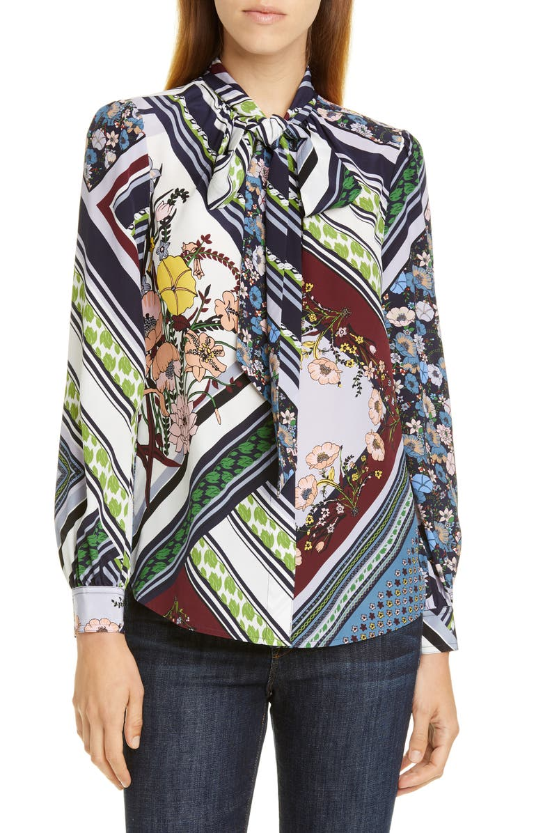 TORY BURCH Printed Bow Silk Blouse, Main, color, HOMAGE TO THE FLOWER PATCHWORK