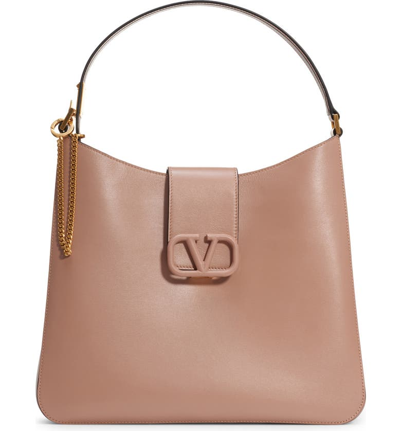VALENTINO GARAVANI VSling Calfskin Hobo Bag, Main, color, ROSE CANNELLE/ PASTEL GREY