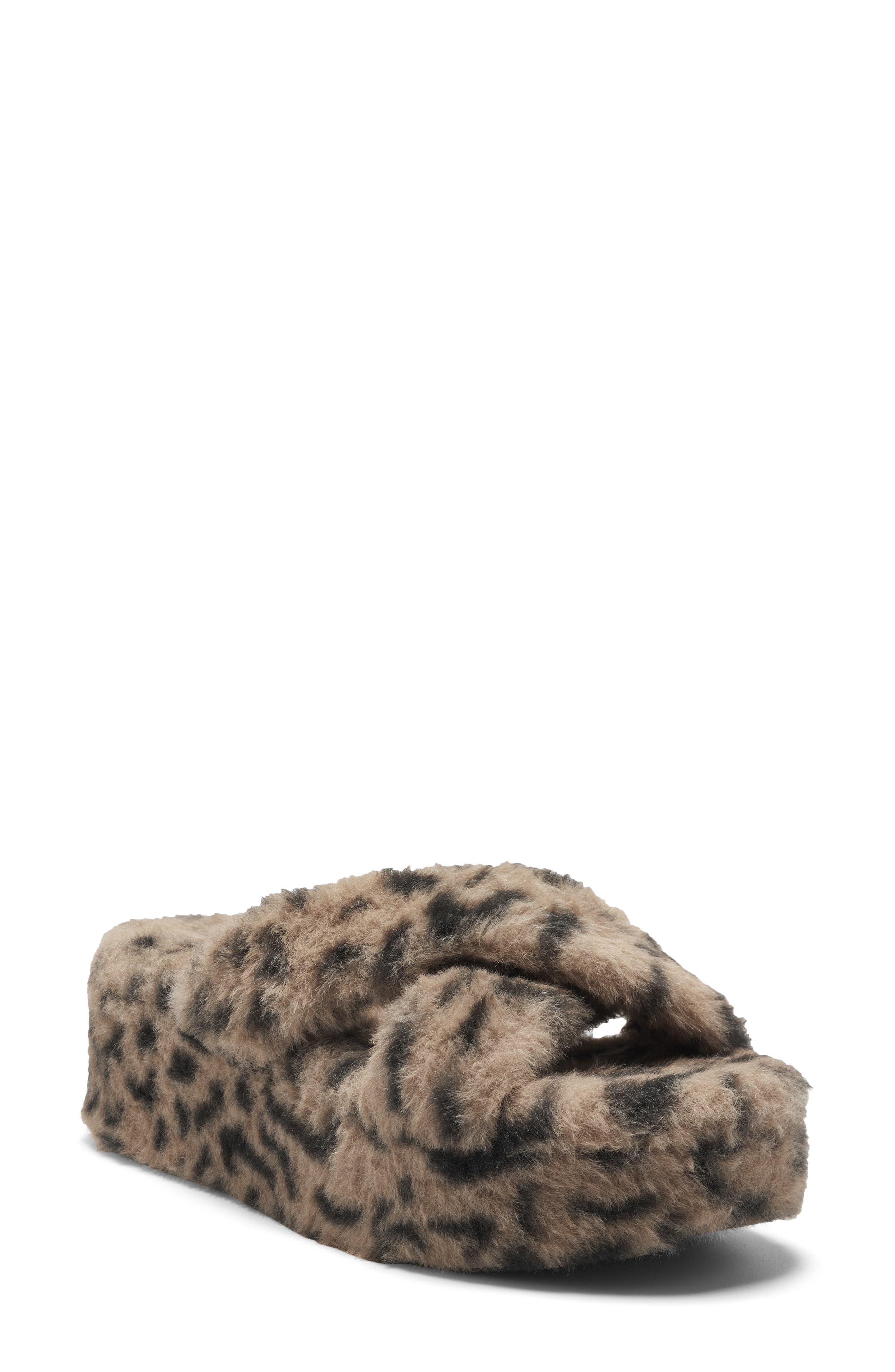 Talulla Faux Fur Platform Cozy Slip-On Sandal