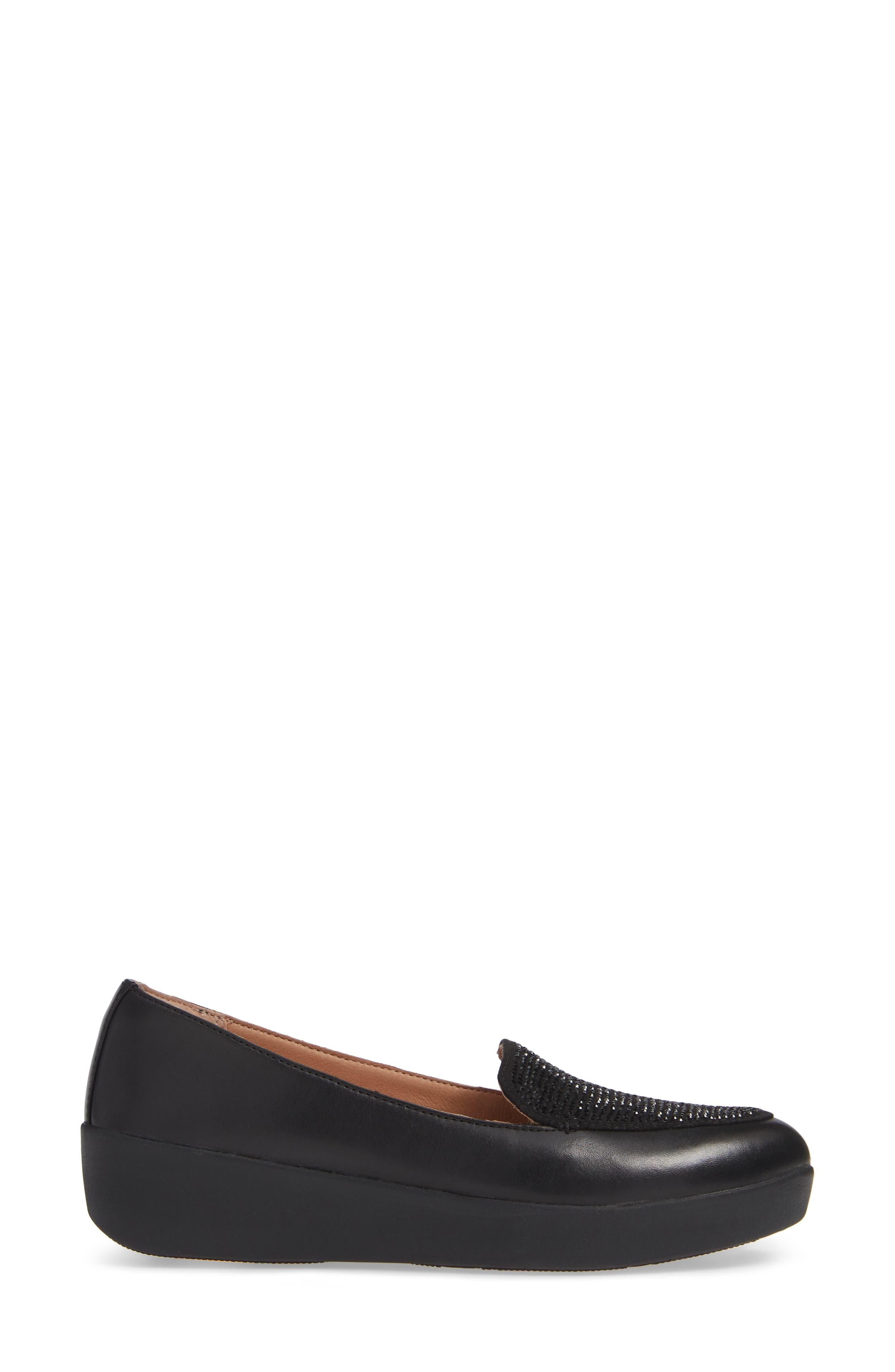 ,                             Crystal Embellished Sneakerloafer Slip-On,                             Alternate thumbnail 3, color,                             BLACK FABRIC