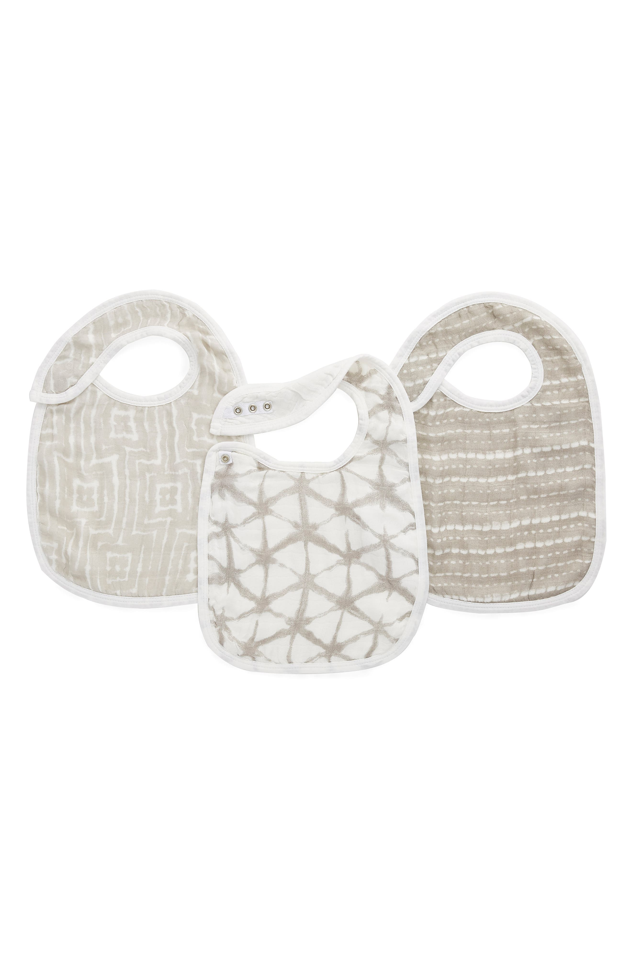 Infant Aden  Anais Shibori 3Pack Snap Bibs Size One Size  Grey