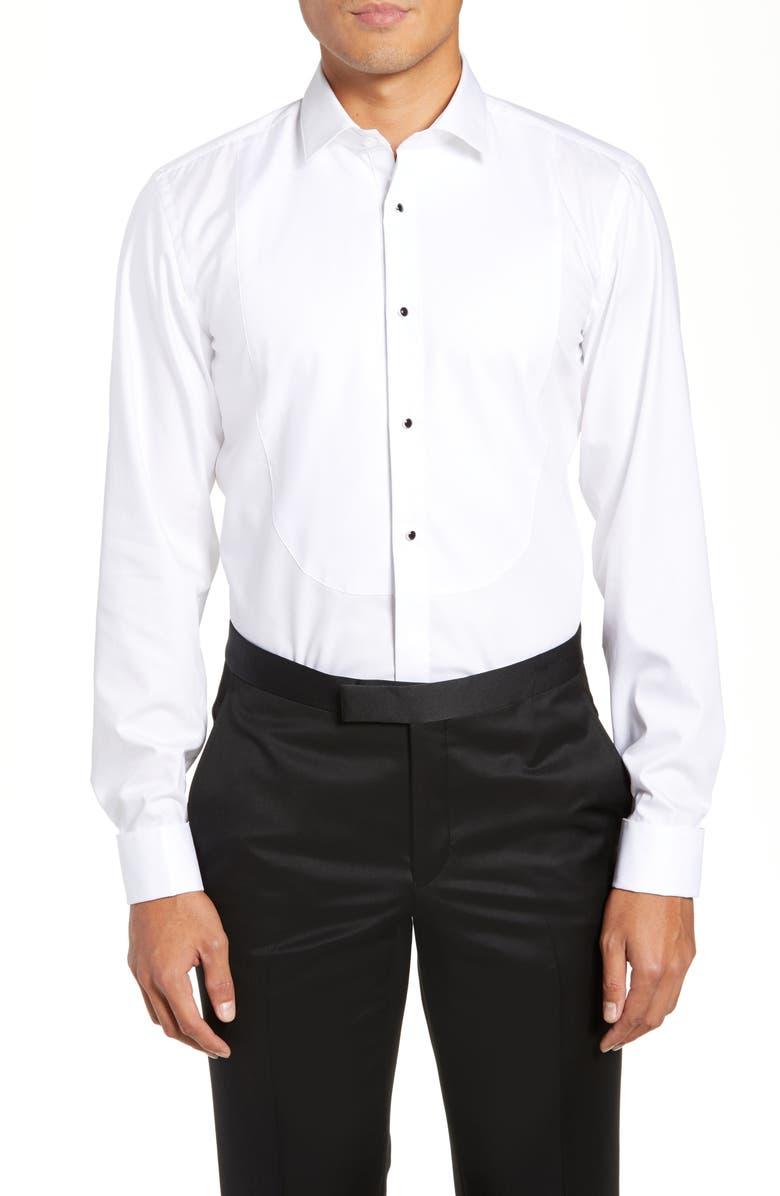 BOSS Jant Slim Fit Tuxedo Shirt, Main, color, 100