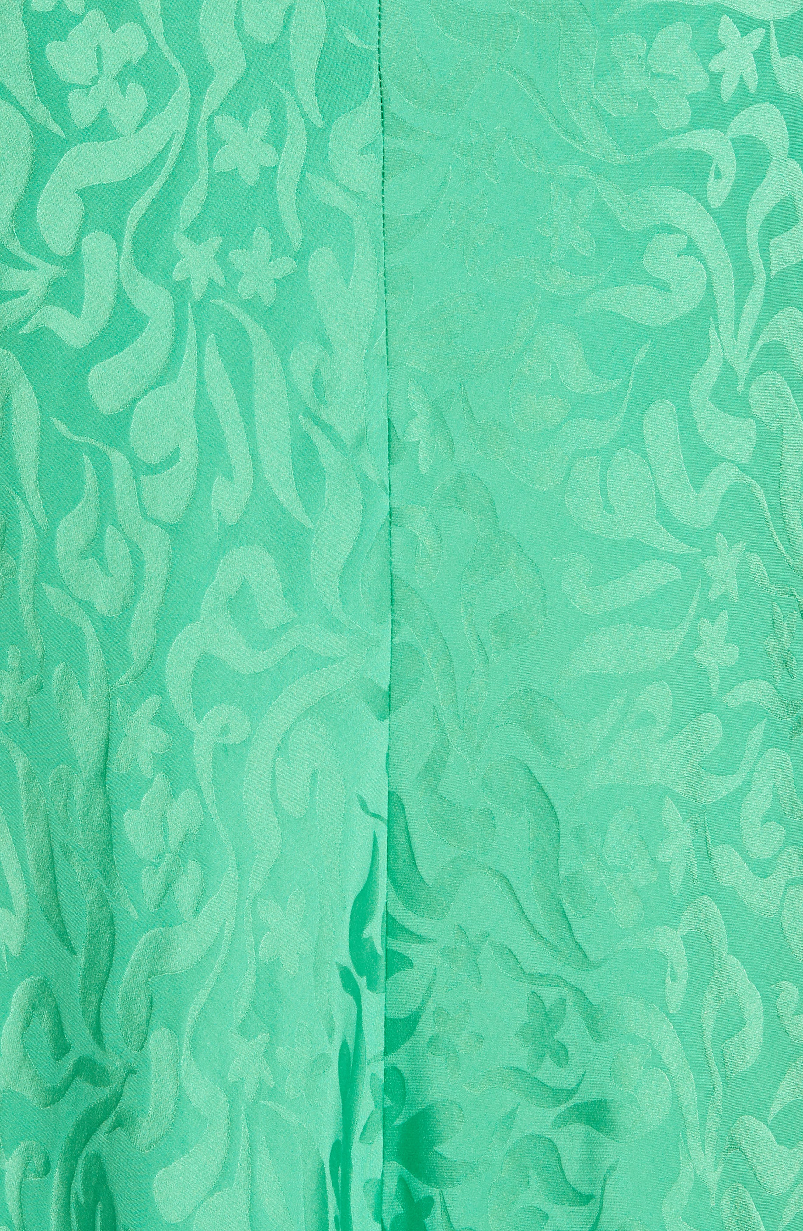 ,                             Bianca Puff Sleeve Silk Midi Dress,                             Alternate thumbnail 5, color,                             LEAF GREEN