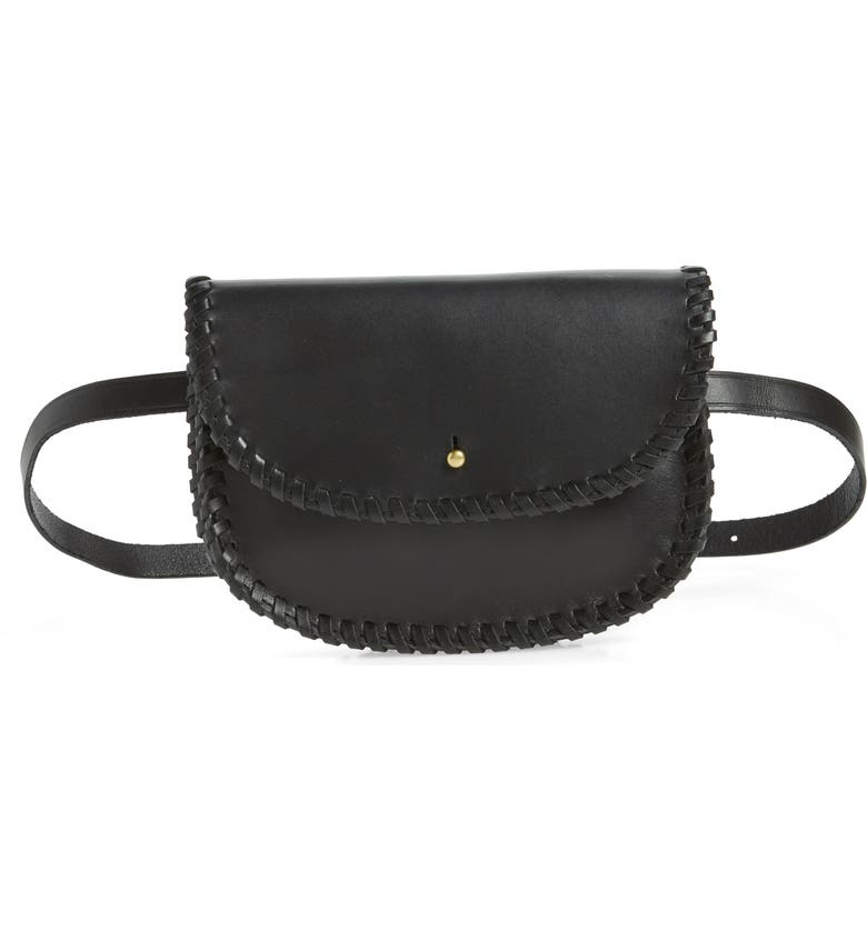 MADEWELL Whipstitch Belt Bag, Main, color, TRUE BLACK
