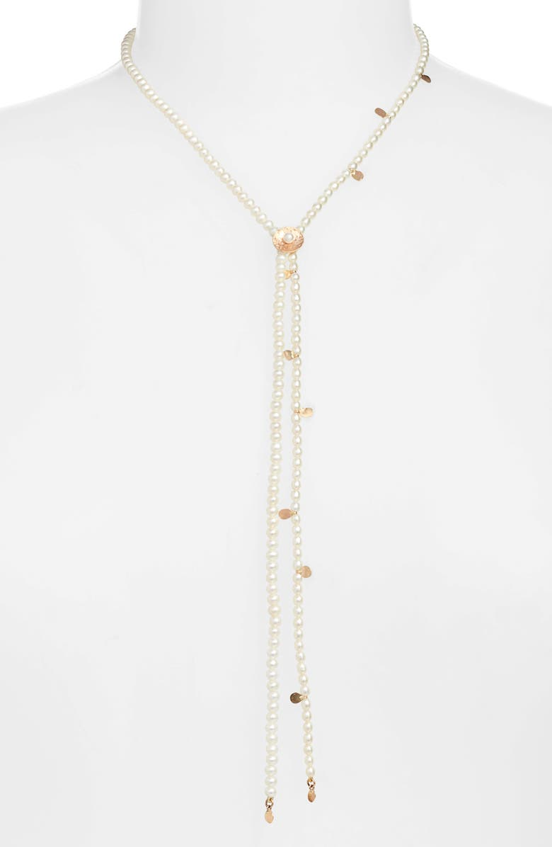 POPPY FINCH 14K Gold & Pearl Bolo Necklace, Main, color, PEARL/ YELLOW GOLD