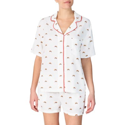 Room Service Love Wins Rainbow Short Pajamas, White (Unisex) (Nordstrom Exclusive)