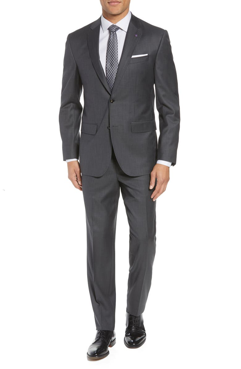 TED BAKER LONDON Jay Trim Fit Solid Wool Suit, Main, color, CHARCOAL