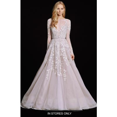 Hayley Paige Hayley Embellished English Net & Tulle Long Sleeve Ballgown
