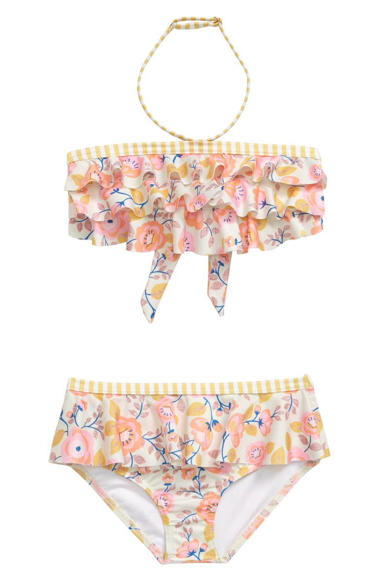 HEART AND HARMONY Wallflower Ruffle Two-Piece Bandeau Swimsuit, Main, color, MULTI PINK