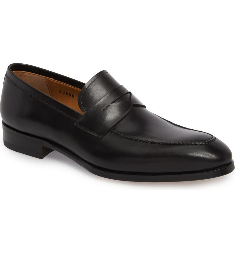 MAGNANNI Rolly Apron Toe Penny Loafer, Main, color, BLACK LEATHER