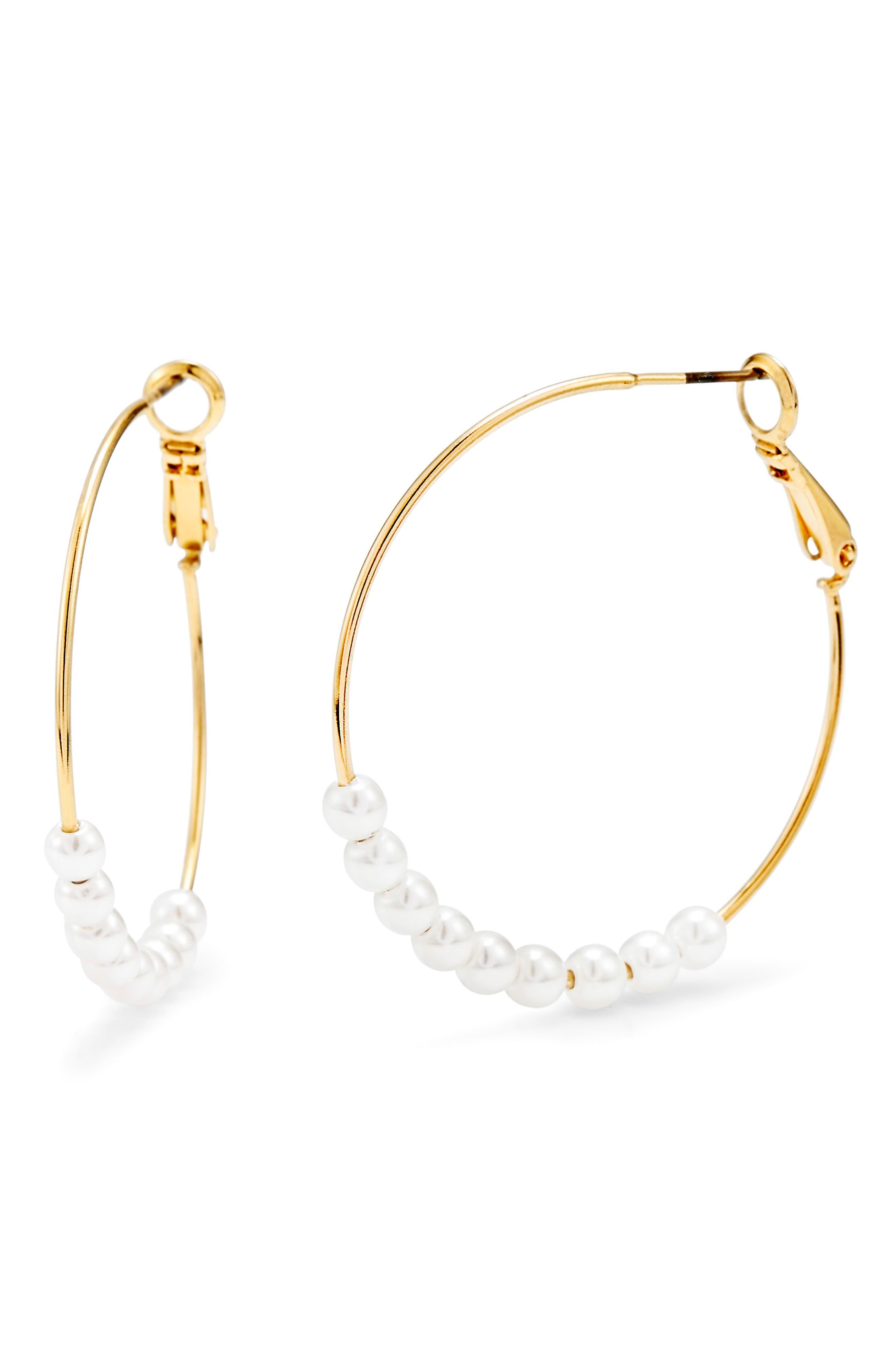 Taylor Imitation Pearl Hoop Earrings