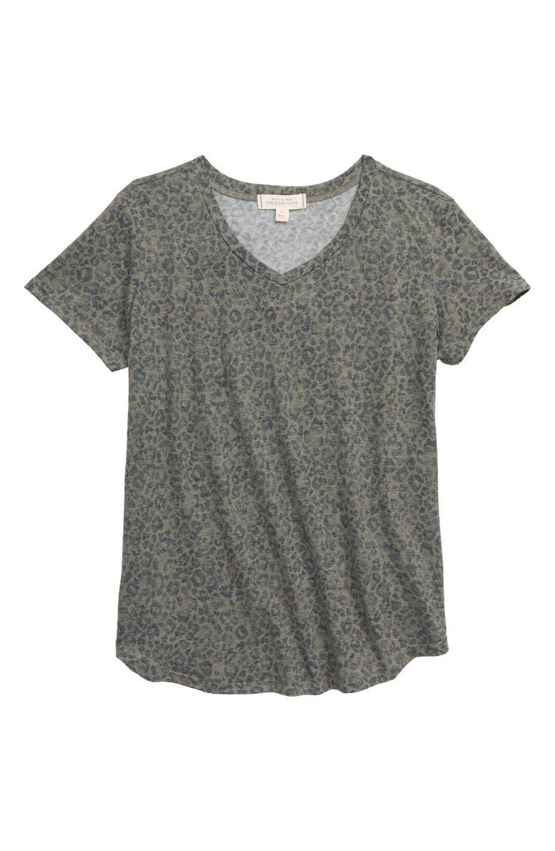 WALKING ON SUNSHINE Print Shirt, Main, color, OLIVE LEOPARD