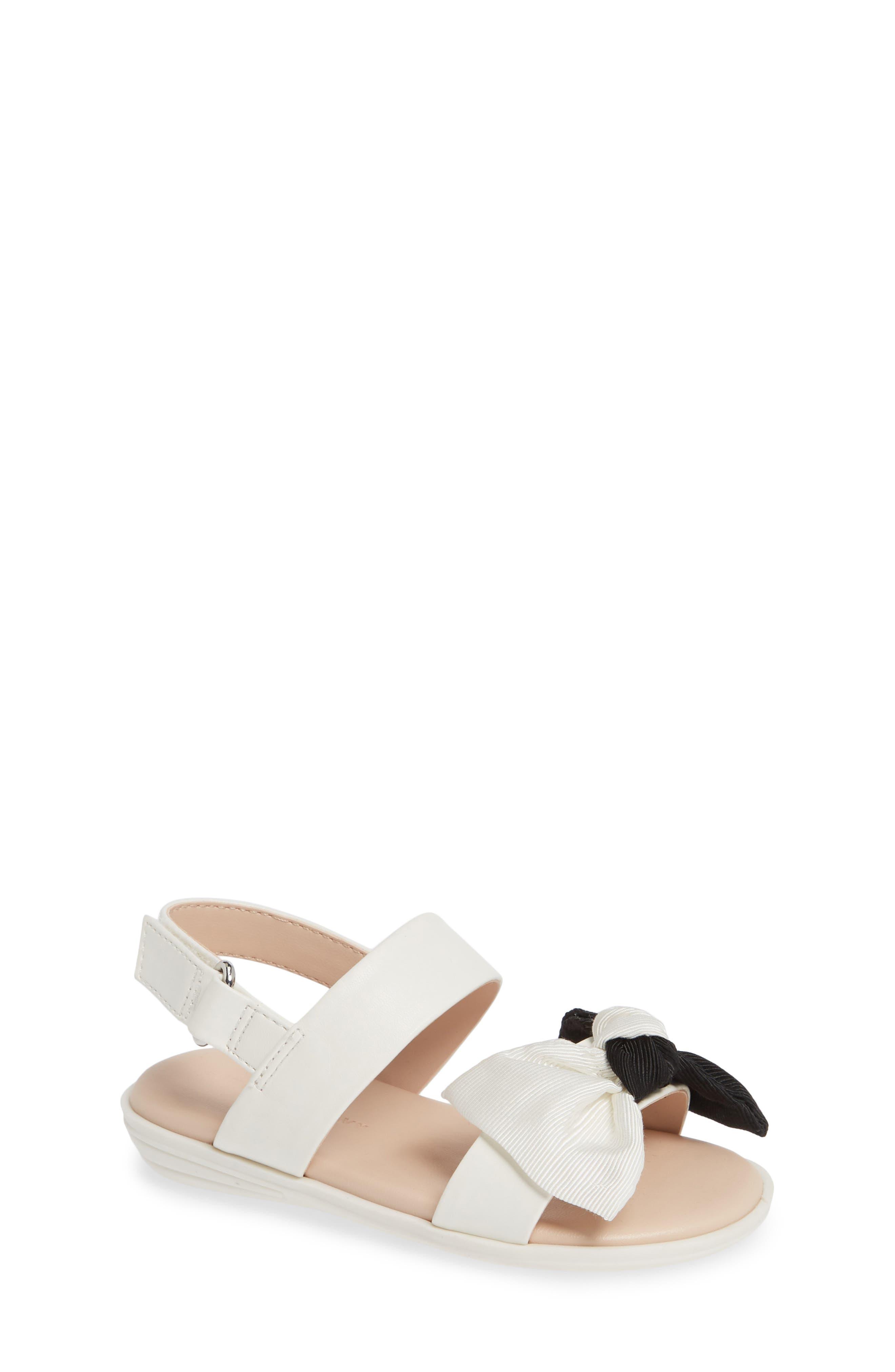 ,                             Chelsea Bow Sandal,                             Main thumbnail 1, color,                             WHITE/BLACK FAUX LEATHER