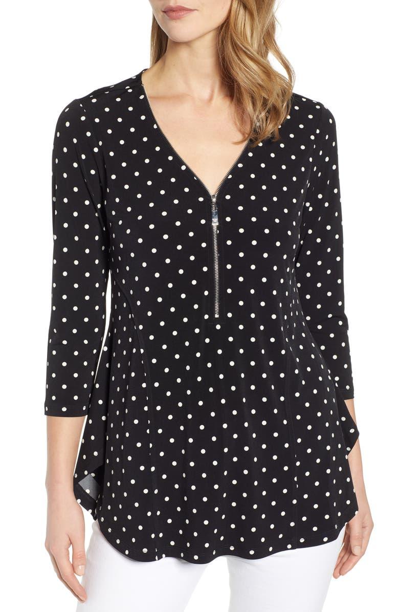 CHAUS Zipper Dot Top, Main, color, RICH BLACK