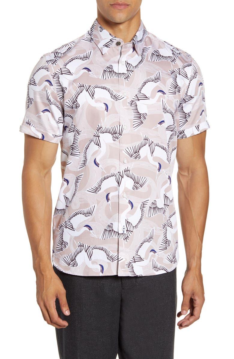 TED BAKER LONDON Slim Fit Bird Print Short Sleeve Button-Up Shirt, Main, color, PINK