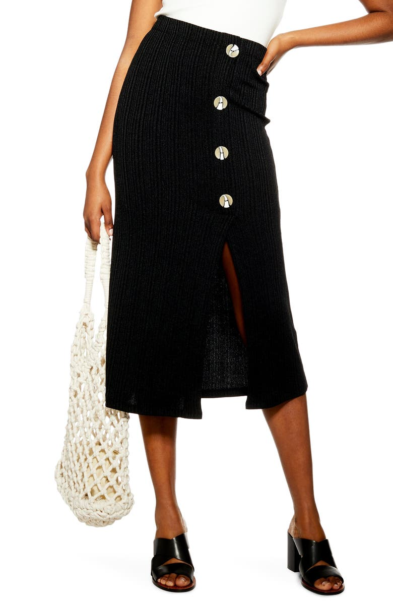 TOPSHOP Button Rib Midi Skirt, Main, color, BLACK
