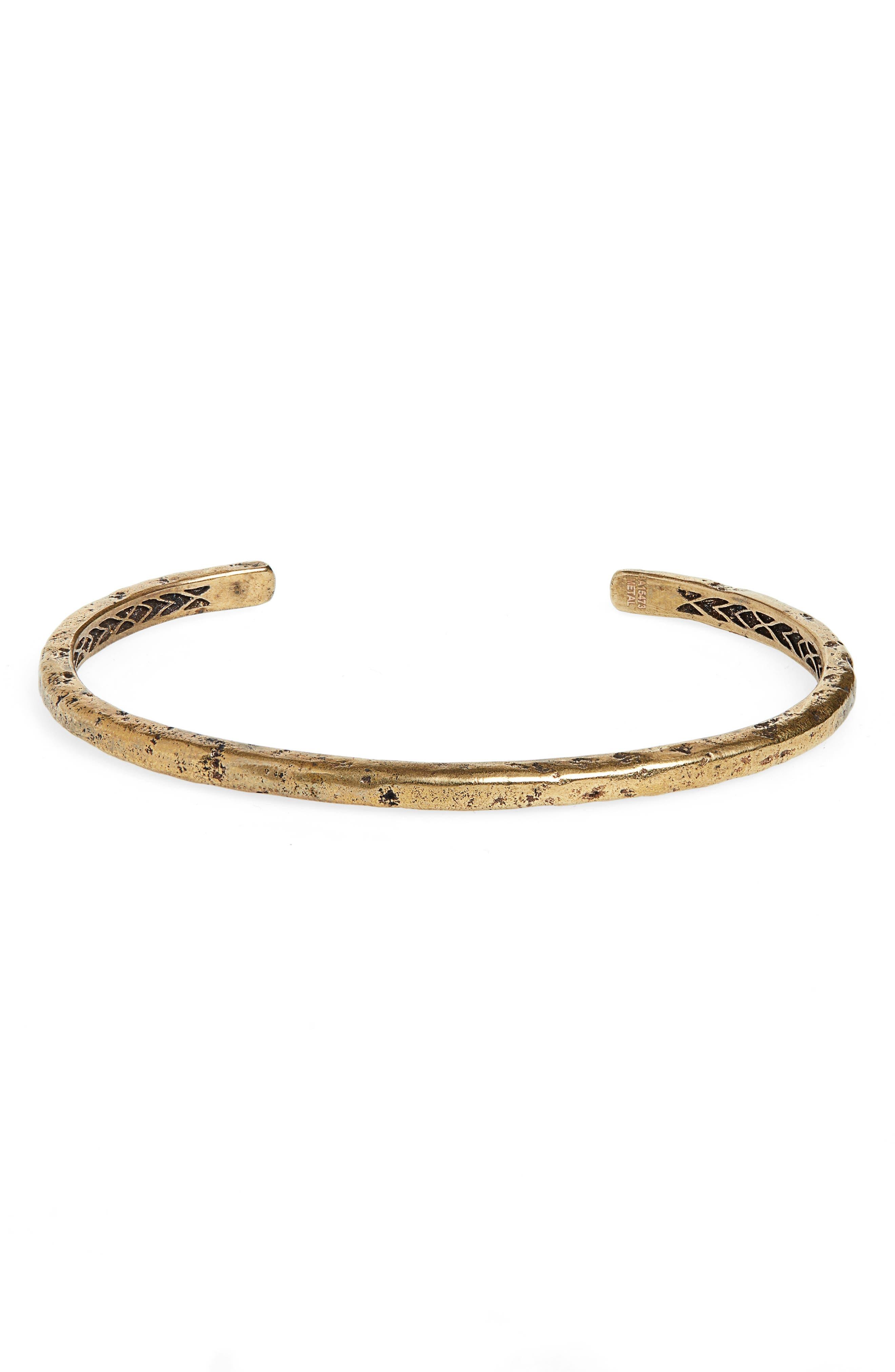 Distressed Brass Cuff Bracelet