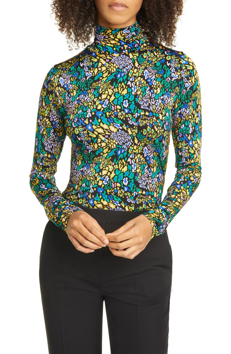 TANYA TAYLOR Marion Turtleneck Top, Main, color, LEOPARD GREEN