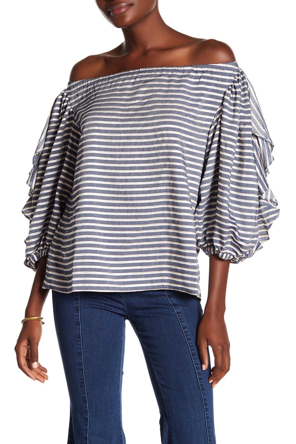 Image of RACHEL Rachel Roy Ruffle Sleeve Stripe Blouse