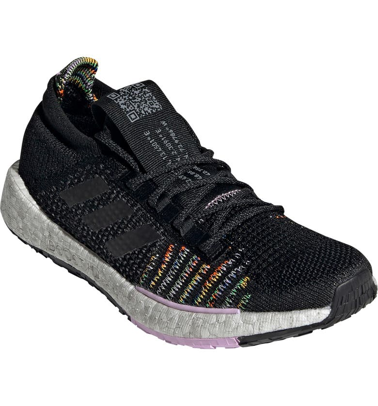 ADIDAS PulseBoost HD Running Shoe, Main, color, BLACK/ BLACK/ CLEAR LILAC