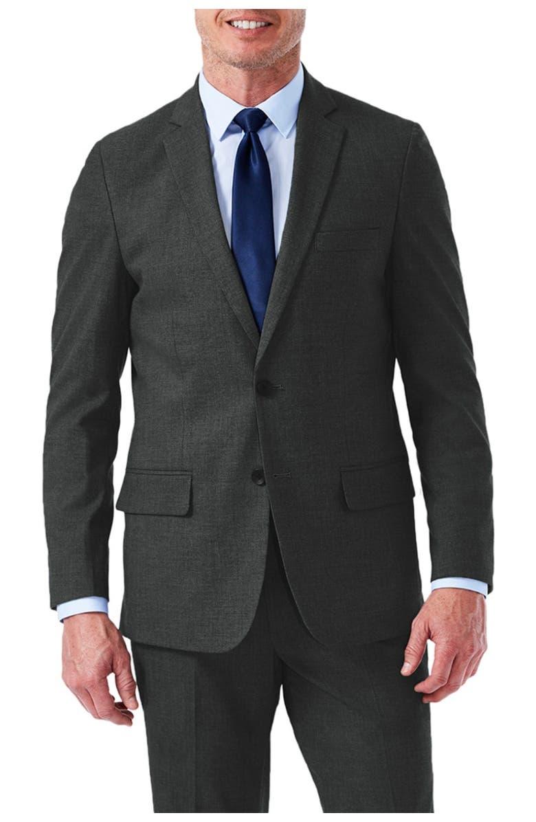 HAGGAR Hagger J.M Haggar Slim Fit Flat Front Premium Stretch Suit Separate Jacket, Main, color, MED GREY