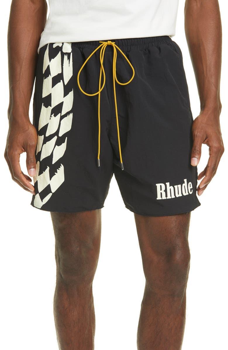 RHUDE Nylon Track Shorts, Main, color, BLACK