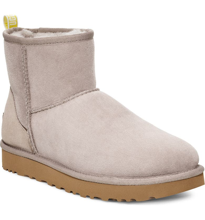 UGG<SUP>®</SUP> Classic Mini II Logo Bootie, Main, color, OYSTER / NEON YELLOW SUEDE