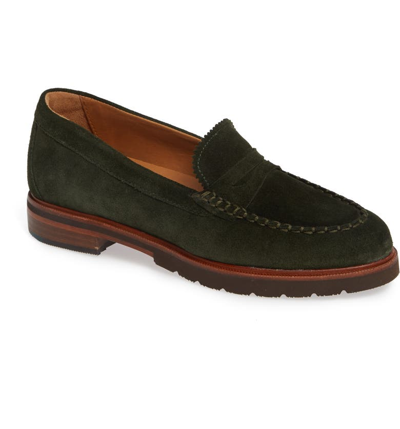 SAMUEL HUBBARD Tailored Traveler Loafer, Main, color, PINE GREEN SUEDE