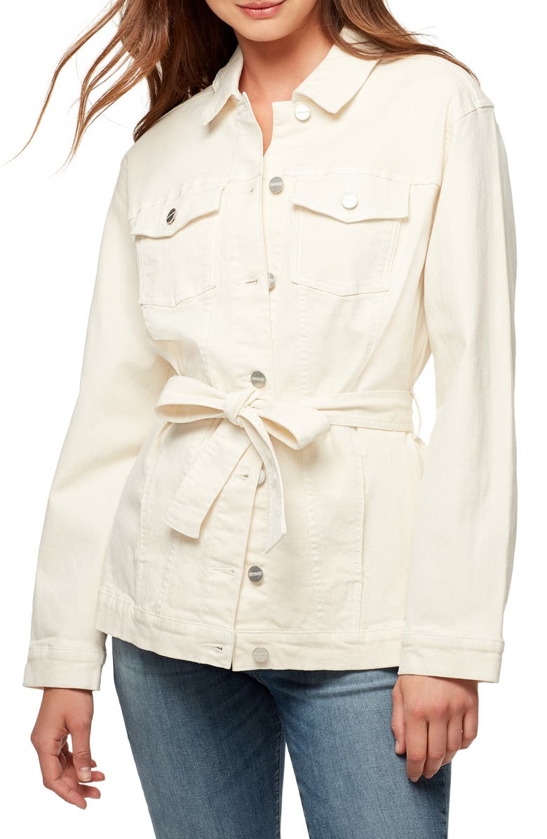 SANCTUARY Jessa Tied Denim Trucker Jacket, Main, color, MOONSTONE