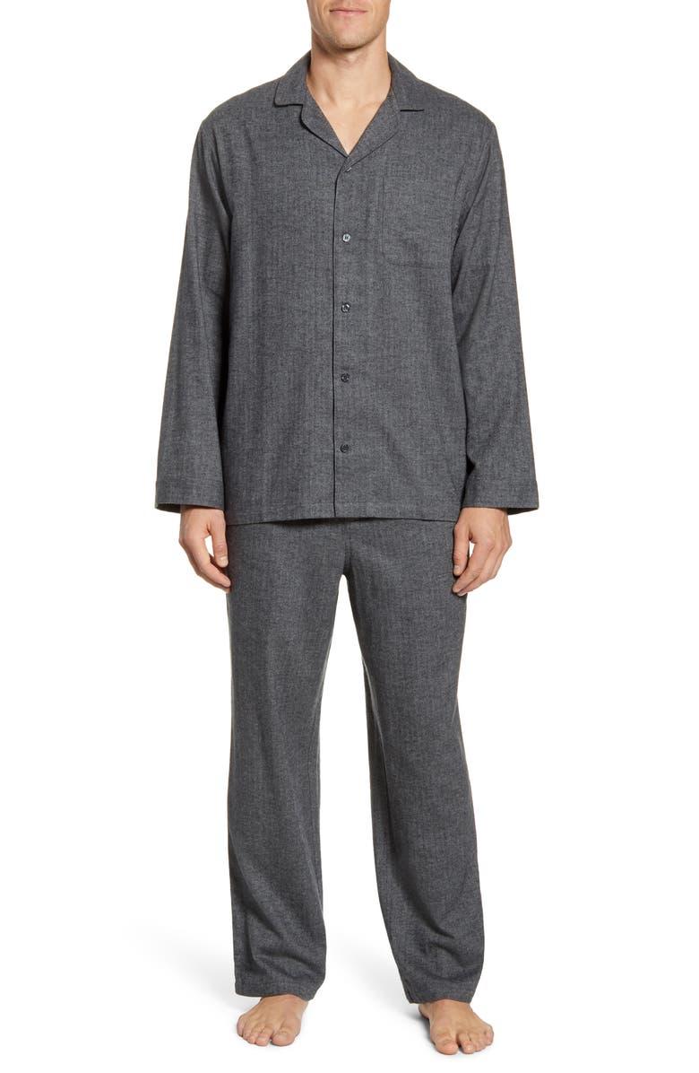 NORDSTROM MEN'S SHOP '824' Flannel Pajama Set, Main, color, GREY BLACK HERRINGBONE
