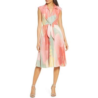 Maison Tara Sunburst Tie Front A-Line Dress, Coral